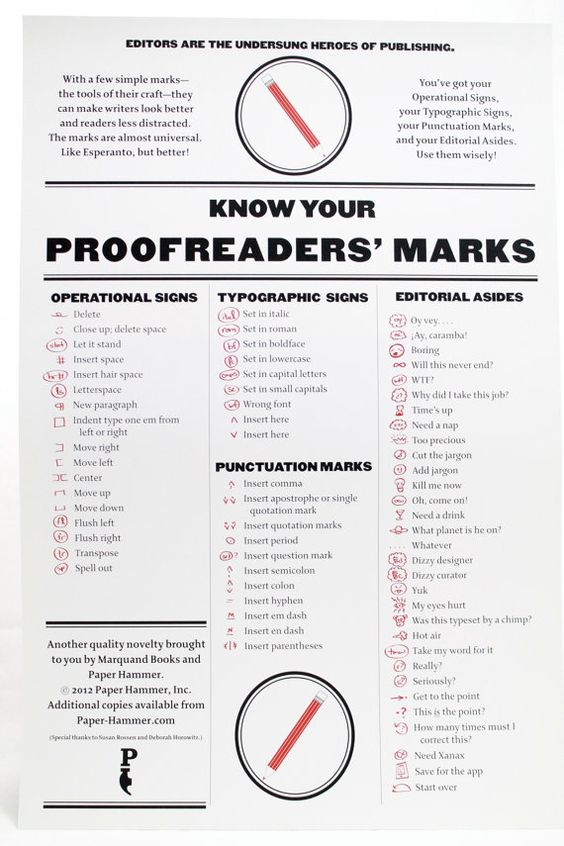 Proof reading signs