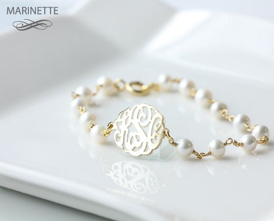 Pearl bracelet with personalized monogram.