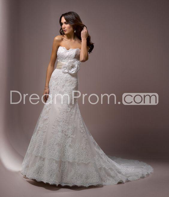 Fabulous Trumpet/Mermaid Sweetheart Floor-Length Chapel Lace & Flower Wedding Dresses