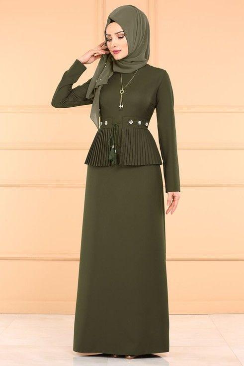 Modaselvim Elbise Pilise Detay Tesettur Elbise Pl864 Haki Musluman Elbisesi Basortusu Modasi The Dress