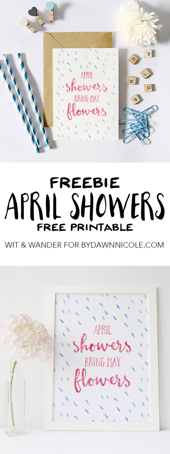 Free Spring Printable - April Showers Bring May Flowers | Wit & Wander for By Dawn Nicole