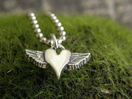 Petite Winged Heart Sterling Pendant - Stunningly beautiful!