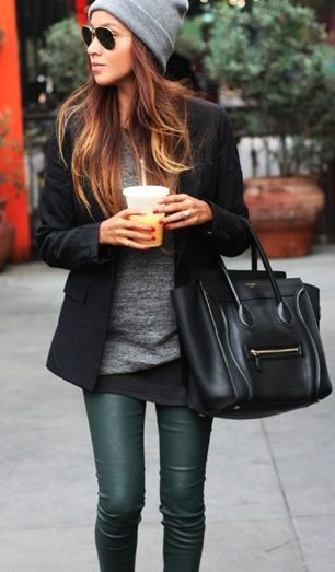 #fashion #look #style #pants #leather #slim #boots #black #coat #bag #sweater #knit  #rock #trends #accessories #glasses #long hair #dipdye hair #bonnie