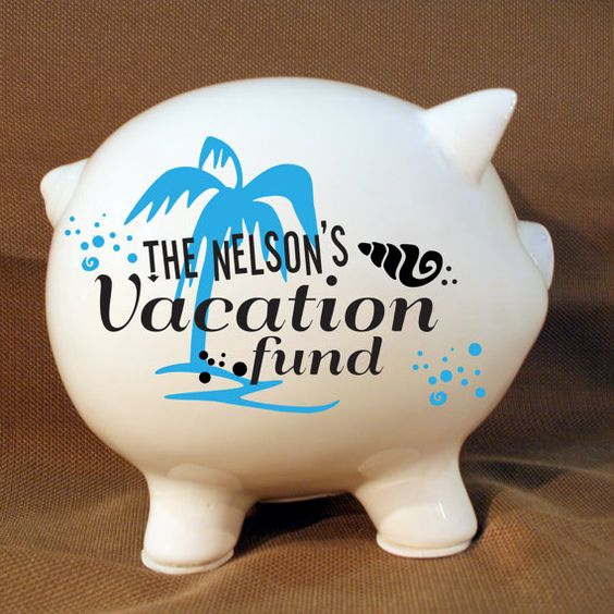 """Personalized Piggy Bank """"Vacation Fund"""" with Vinyl Decal, Engagement Party Gift, Fund Piggy bank, Saving Up Bank, Palm Tree on Etsy, $35.00"""