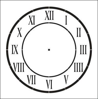 D Anjou Clock Stencil 10 Clock Stencils Roman Numeral Clock Roman Numeral Clock Face