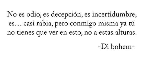 No es odio, es decepción, es incertidumbre, es casi rabia, pero conmigo misma...