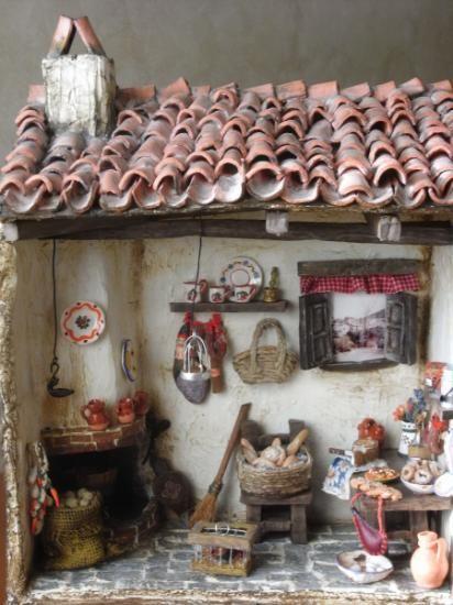 Cocina tipica r stica en miniatura cart n tratado barro - Manualidades para casa rustica ...