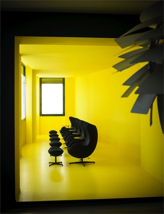 Fritz Hansen Flagship Store opens in Milan #colors #yellow #interiors