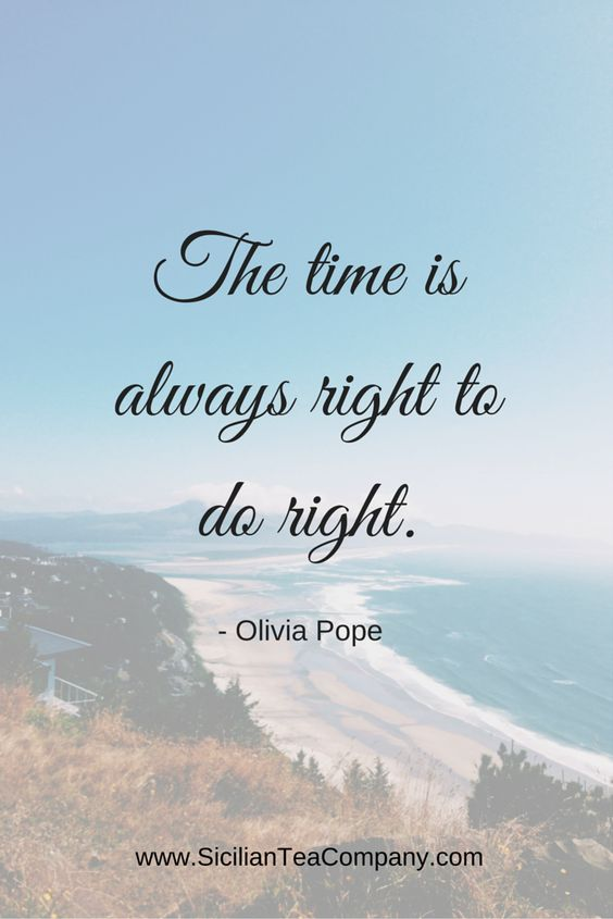 "~ Scandal is a guilty pleasure of mine. Olivia Pope quote I love: ""The time is always right to do right."":"