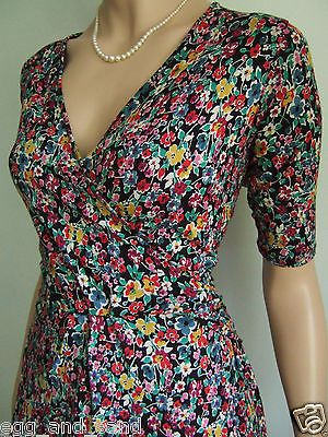 Size uk 10 vintage 40s ww2 #style m&s #ditsy #floral stretchy swing jive tea dres,  View more on the LINK: 	http://www.zeppy.io/product/gb/2/371533974993/