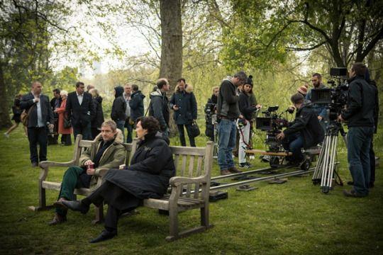 SHERLOCK (BBC) ~ Photo: Martin Freeman (John) and Benedict Cumberbatch (Sherlock) behind-the-scenes on the set during filming.