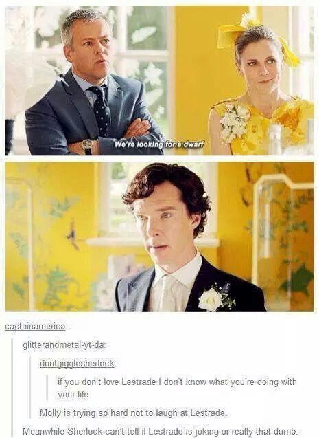 Sherlocks thinking 'You see what I have to work with!'