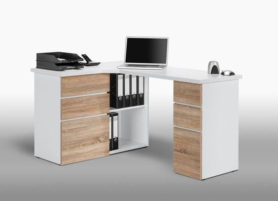 bureau informatique d 39 angle contemporain avec rangement ch ne sonoma blanc nayade pinterest. Black Bedroom Furniture Sets. Home Design Ideas