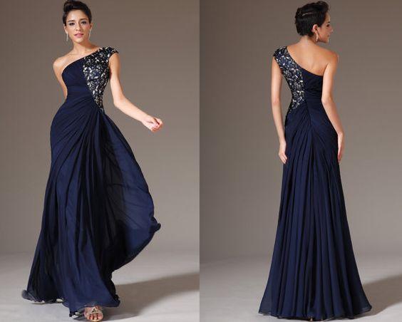 Custom Made New Dark Blue One-Shoulder Formal Dress Prom Dress ...