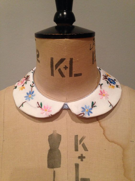 Embroidered collar made from vintage fabric by LovebyJane on Etsy