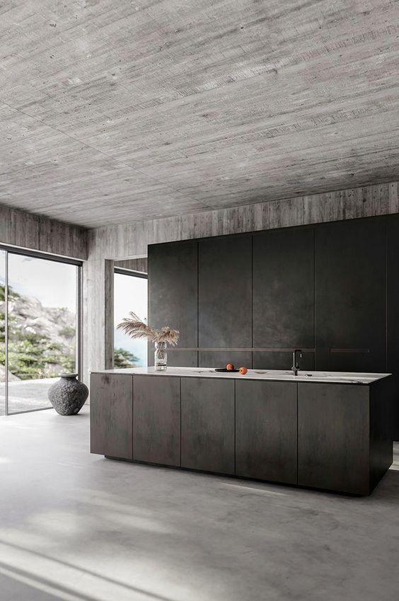 Contemporary Interior Design Minimalistic Decor Bare Concrete Walls Concrete Floors Mi Modern Minimalist Interior Modern Kitchen Design Minimalism Interior