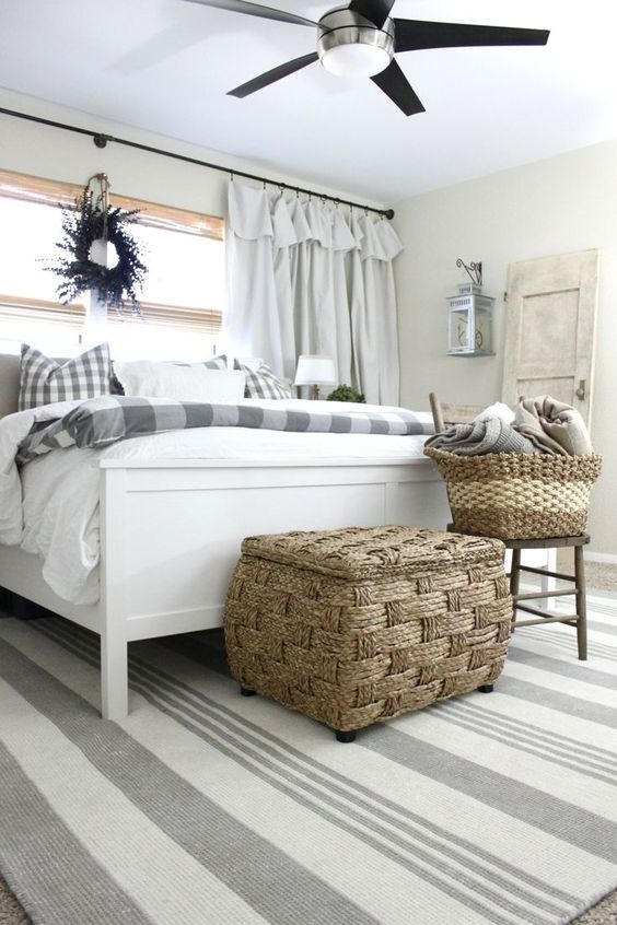 I designed my master bedroom decor off of this grey striped rug from RugsUSA. It's the perfect mixture of calming neutrals and a fresh coastal cottage feel. • Farmhouse Rustic area rug • boho placement in living room • texture handmade & modern rope, jute rugs •