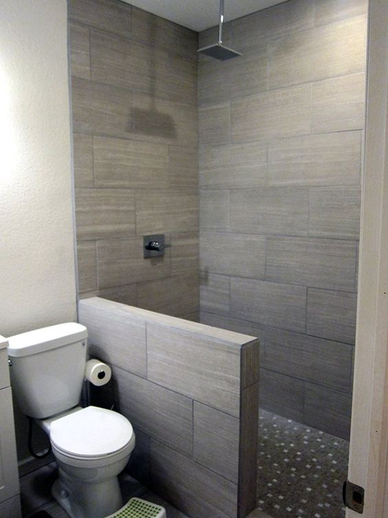 Diy basement bathroom finish modern gray tile floor to for Finished bathroom ideas