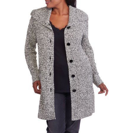 Faded Glory Women's Plus Cable Wing Collar Sweater Coat