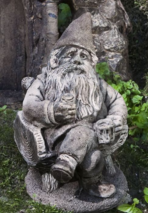 Gribblegrin Gnome Garden Statue with Drink Gnome and Fairy