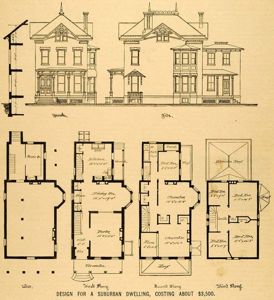 Vintage victorian house plans 1879 print victorian house for Victorian townhouse plans