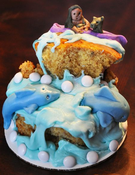 """Previous pinner: """"Cake inspired by The Island of the Blue Dolphins by O'Dell""""  Me: HAVE to pin this one; loved this book and met the star of the movie long ago and far away..."""