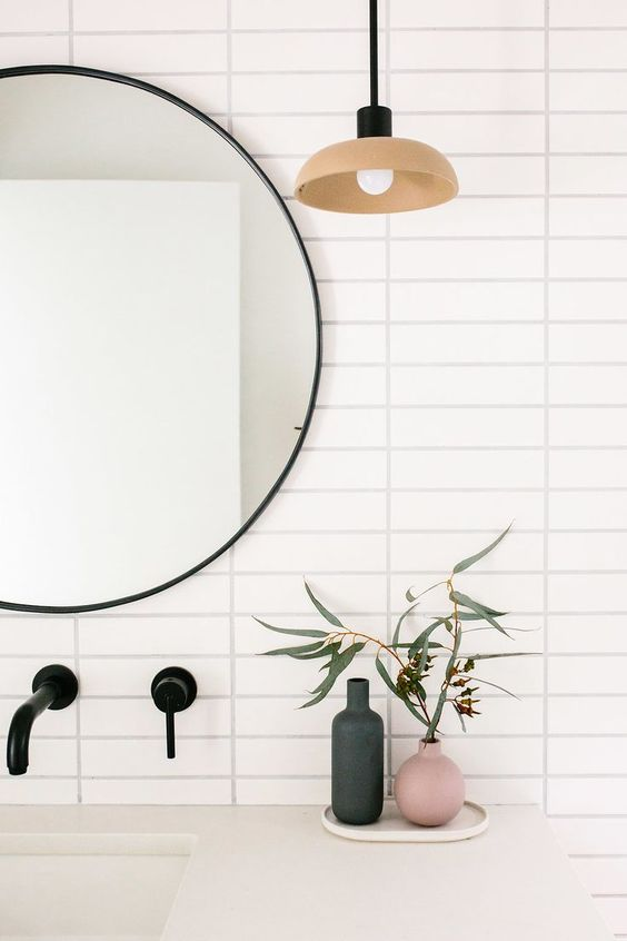 Our Austin Casa || The Terrazzo Guest Bathroom Reveal - The Effortless Chic || Cedar & Moss Terra Pendant || Stack Bond White 2 x 8 Tile || Rejuvenation Mirror and Delta Faucets || Terrazzo Floor Tile