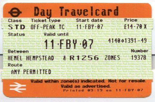 Museu Ferroviário Virtual - Bilhete diário de trem inglês, de 2007