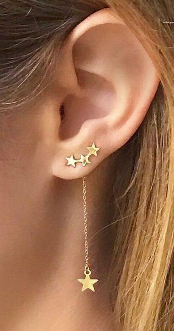 Product Information - Product Type: 1 Pair of Ear Climbers - Gauge Size: Standard Ear Lobe - 20 Gauge (1.2mm) Ear Crawler Climber Stars Crystal Silver Gold Star Stars Triple Dangle