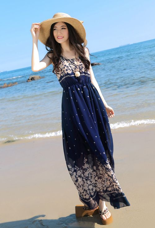 Women's Trendy Blue O-Neck Floral Chiffon Ankle-Length Maxi Dress ...