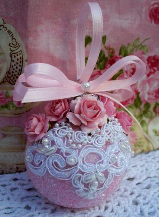 Pink ornament with lace trimmings!!! Bebe'!!! These will be lovely displayed on…