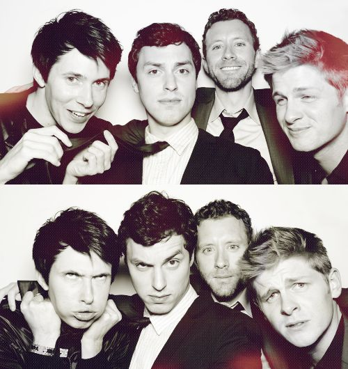 The boys of Bones: Vincent Nigel-Murray(Ryan Cartwright), Lance Sweets (John Francis Daley), Jack Hodgins (T. J. Thyne), and Wendell Bray (Michael Grant Terry)
