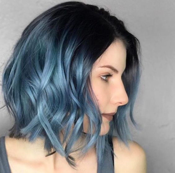 A Black Roots And Metallic Blue Ombre With Waves Blue Ombre Hair Short Ombre Hair Metallic Hair