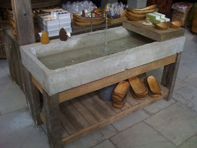 Concrete sink on wood base for garden shed