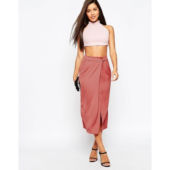 ASOS Drape Wrap Midi Skirt ($52) ❤ liked on Polyvore featuring ...