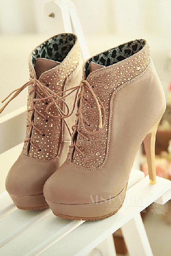 Msfairy | Msfairy Czech Rhinestones Stiletto Heel Two Ways of Wear Style Beige #Boots