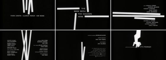 """Saul Bass: """"For the average audience, the credits tell them there's only three minutes left to eat popcorn. I take this 'dead' period and try to do more than simply get rid of names that filmgoers aren't interested in. I aim to set up the audience for what's coming; make them expectant."""""""