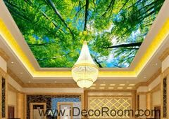 Tree Sky Sun Beam Forest 00087 Ceiling Wall Mural Wall paper Decal Wall Art…