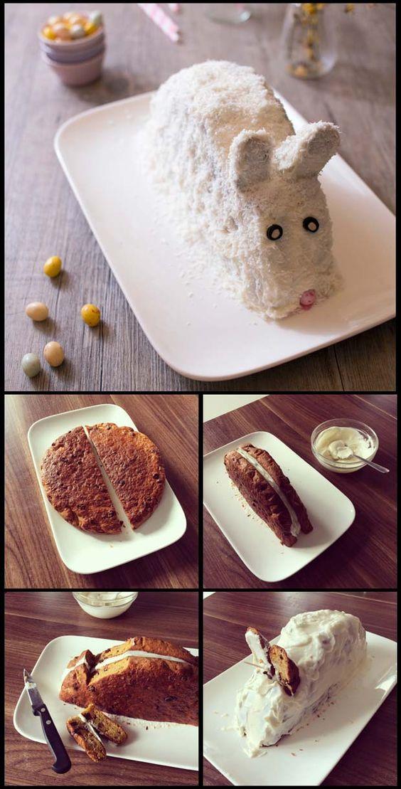 Gâteau Lapin de Pâques carrot cake - DIY photos technique pas à pas: