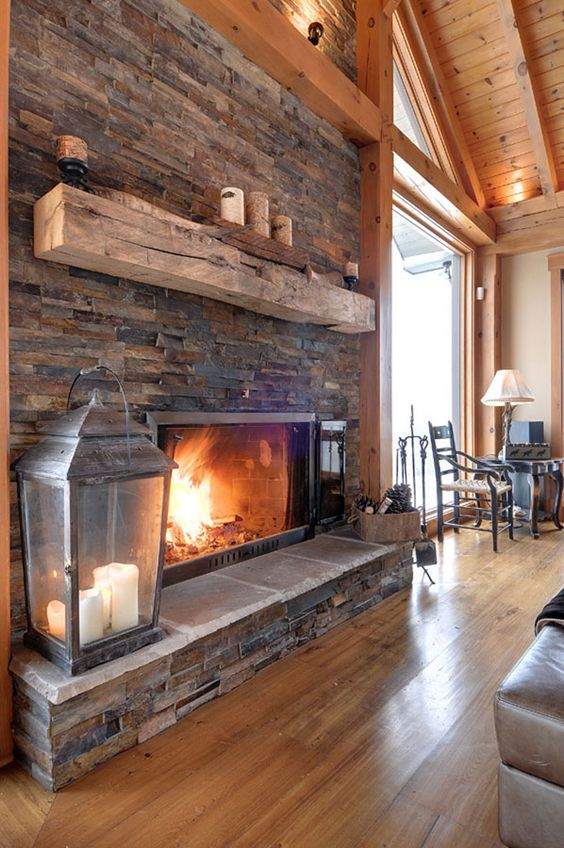 Timber frame interior design normerica authentic timber for Lodge style fireplace ideas