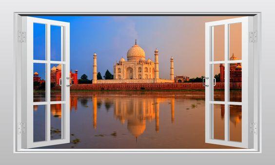 Taj Mahal in India #1 3D Window Scape Graphic Art Mural Wall Sticker