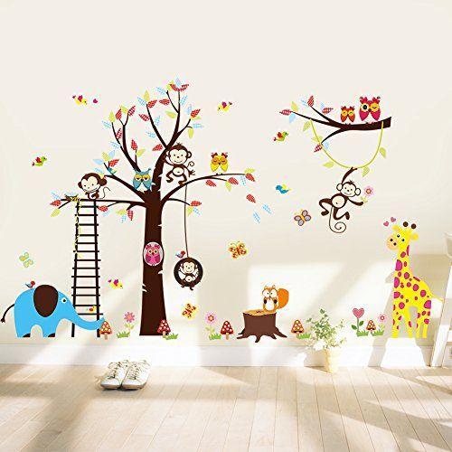 Wandsticker4u Xxl Wandtattoo Lustige Tierwelt In Dschungel Wandbild 235x140 Wandtattoo Kinderzimmer Tiere Wandsticker Kinderzimmer Wandbilder Kinderzimmer