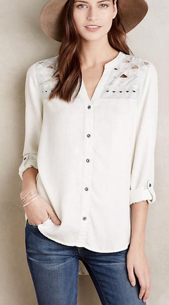 White Chambray Button-Down with Geometric Cut-Out Details