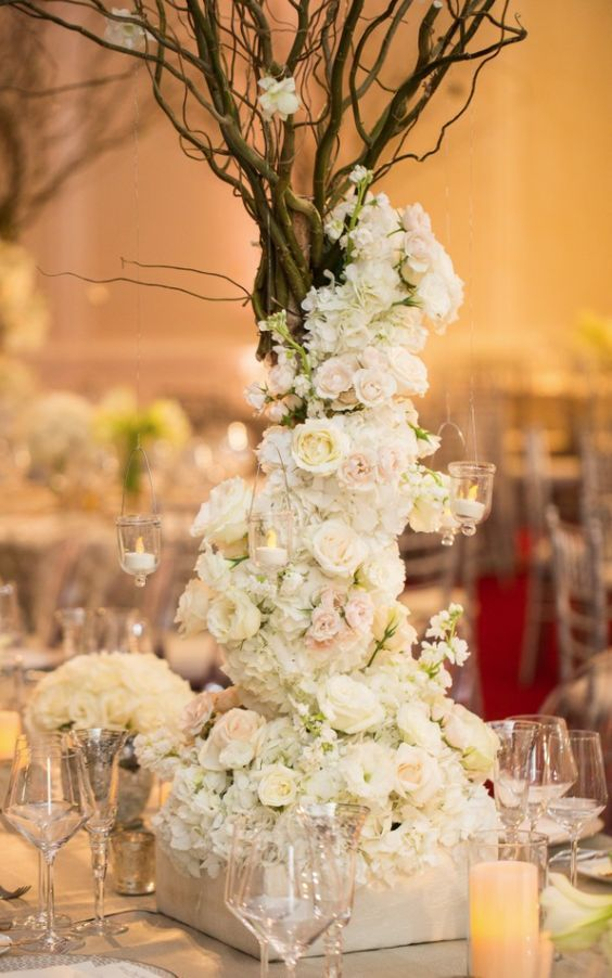 Wedding reception centerpiece idea; Featured Photographer: John Cain Photography