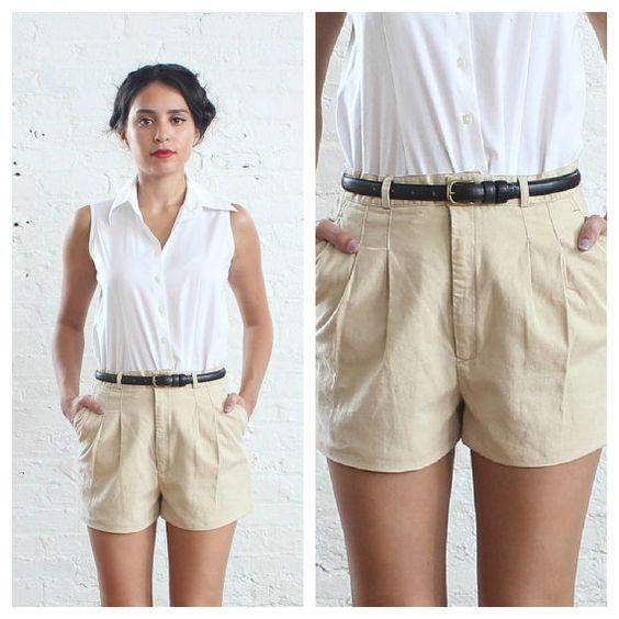 80s high waisted shorts // khaki high waist shorts (s)   High ...
