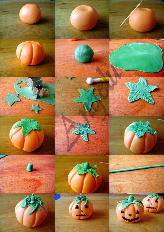Citrouilles en pâte à sucre - sugarpaste pumpkins     - Cute tutorial found by Elaine Robitalle at Craft Gossip!