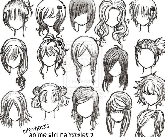 drawing girl hair styles | How to draw anime girl hairstyles pictures 1
