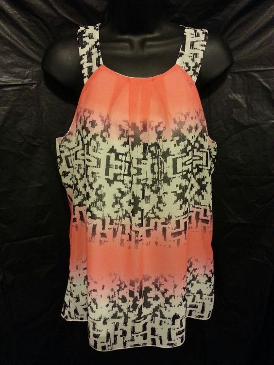 By & By, sleeveless, multi-color blouse, size M, polyester, geometric print #ByBy #Blouse #Career