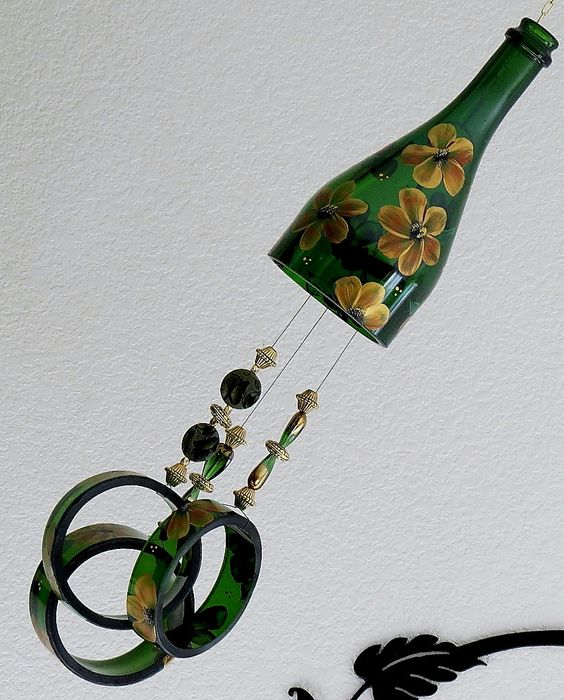 Glass Wind Chime, Upcycled Green Champagne bottle wind chime, Flowers, Yellow and brown, Sun catcher by LindasYardArt on Etsy