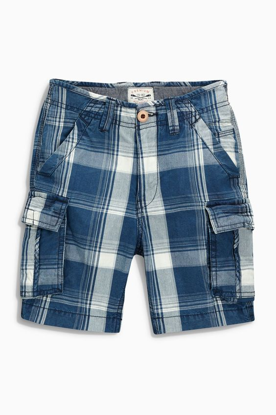 Buy Navy Check Cargo Shorts (3-16yrs) from the Next UK online shop